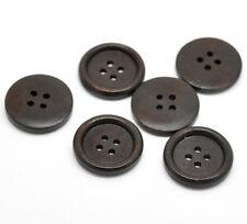 10 marrón muy oscuro (casi Negro) Madera Coser Botones 25mm (1 pulgada) de gran valor