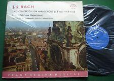 Bach Two Concertos for Harpsichord Zuzana Ruzickova Gyorgy Lehel SUA 10511 LP
