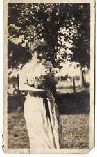Lovely Edwardian Fashion Striped Dress Woman Holding Tabby Cat Vtg 1910s Photos