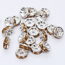 20pcs Plated silver crystal spacer beads Charms Findings 8mm FREE SHIPPING  #27