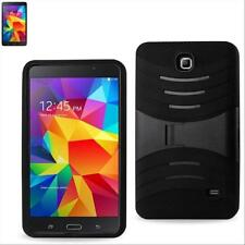 Black Silicone Cover Hard Box Case w/ Stand for Samsung Galaxy Tab 4 7.0 7 Inch