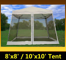 8'x8'/10'x10' Pop Up Canopy Party Tent Gazebo EZ w Net - White