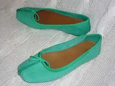 womans CLARKS FRECKLE ICE SOFT JADE NUBUCK LEATHER SHOES SIZE 3.5