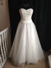 Maggie Sottero Lana Diamond White/Ivory Organza Strapless Wedding Dress UK14
