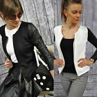 New Womens Ladies Quilted Jacket with LEATHER Look Sleeves Zip Blazer Suit Coat