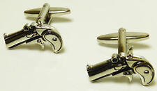 Gold Coloured Siz Shooter Pistol Deluxe Cufflinks With Gift Pouch Gun Shoot New
