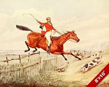 HORSE & RIDER FENCE JUMP FOX HUNT EQUESTRIAN HUNTING ART PAINTING CANVAS PRINT