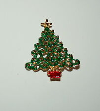Vintage Estate Potted Holiday Christmas Tree Brooch Jewelry Pin