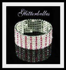 GLITTERBELLES 7 Row Silver PINK Crystal BRACELET NO8 UK