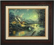 "Thomas Kinkade CHRISTMAS MOONLIGHT 18"" x 24"" LE G/P Canvas (Burl Frame)"
