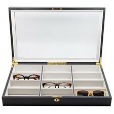 12 BLACK WOOD EYEGLASS SUNGLASS OVERSIZED GLASSES STORAGE DISPLAY CASE ORGANIZER