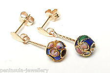 9ct Gold Blue Chinese Enamel Ball drop earrings Gift Boxed Made in UK