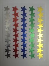 *B2G1F* 50 FOIL MIXED COLOURED STARS CHILDRENS REWARD STICKERS SHINY GOLD SILVER