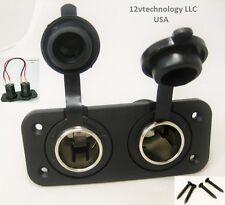 Double Heavy Duty 20 Amp 12V Plug Cigarette Lighter Socket High Power Jack Panel