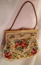 Vintage Dual Sided Needle Point Purse Gold Bar Top Clip Closure Golden Chain A21
