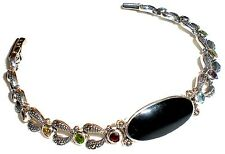 BLACK ONYX BRACELET: Multi Color CZ Stones Marcasite Sterling Silver (7 inches)