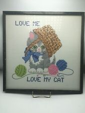 LARGE ~ CAT With YARN Completed/Handcrafted Cross Stitch Picture Framed