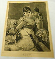 1884 magazine engraving ~ A COQUETTE from picture by Leon Herbo ~ Sensual Woman