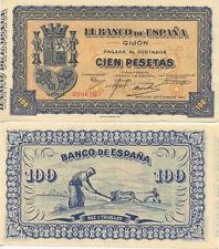 Billete. Banco de España. Gijón. Cien pesetas. Nº Serie 299616. Septiembre 1937.