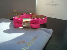 Gorgeous 100% Authentic Mulberry Pink Bow Leather Bracelet, Cuff BNIB