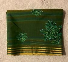 India GREEN POLYESTER SILK SARI With ZARI With BLOUSE Stripe Traditional ETHNIC!