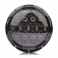 For Jeep Wrangler Headlight Dual Beam Black Round 75W Philip LED Projector 7Inch