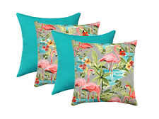 Flamingo Platinum Gray and Solid Turquoise Outdoor Decorative Throw Pillows 4 PK
