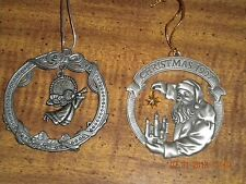 2 Pewter Holiday Christmas Ornaments