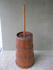 "Antique Butter Churn Cedar Wood Vintage Primitive, Unusual Lid, Dasher 32"" Tall"