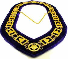 33rd Degree Masonic Chain Collar Scottish Rite Jewel Regalia Purple Velvet ~~~~~
