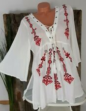 NEU ITALY SOMMER BOHO STRAND TUNIKA BLUSE  ஐ FOLKLORE STICKEREI ஐ WEIß / R 38-42