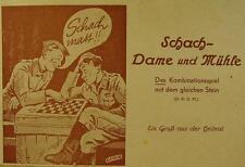 Originales Schach Dame & Mühle Spiel für Frontsoldaten 2 WK vor 1945 in OVP
