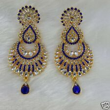 Gold Plated Kundan Style Zerconic Bollywood Earrings Designer Jhumka Style Blue