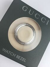 New Authentic GUCCI 1100L 1200L Silver Diamond Cut METAL WATCH Bezel