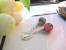 MOTHER OF PEARL SHELL earrings MOP MOSAIC Beauty leverback Silver plated dangle
