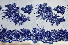 Designer Heavy Hand Beaded Embroidery  Lace Fabric, fancy Bridal Lace w beads