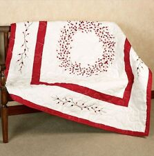 RED BERRY WREATH EMBROIDERED THROW : BERRIES WHITE CHRISTMAS QUILT BLANKET