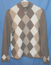 Charter Club Brown Ivory Tan Argyle 100% 2-Ply Cashmere Zip Cardigan Sweater M
