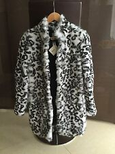 New! HAUTE HIPPE SMALL Women's Leopard-Print Rabbit Fur Coat Sz.S $1295