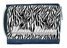 ZEBRA PRINT PERSONALISED LADIES / GIRLS DENIM PURSE / MINI WALLET  *NAMED GIFT*