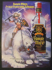 "1990 Rumple Minze Schnapps Polar Bear,Sexy Women White Magic Black 8""x 11"" Ad"