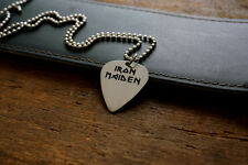 Hand Made Etched Nickel Silver Guitar Pick Necklace - Iron Maiden