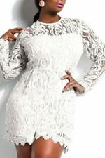 WOMENS WHITE LACE ROMPER CLUBWEAR BODYCON MINI DRESS EVENING PARTY SIZE 16 18