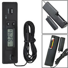 Electronic LCD Digital Temp Meter Thermometer Wired for Fish Tank Aquarium Black