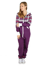 New Womens AZTEC PRINT Hooded Zip Up Onesie Jumpsuit Plus size S-XXXXL size 8-22