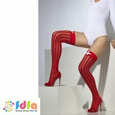 RED SHEER VERTICAL STRIPE HOLD UPS STOCKINGS NURSE ladies womens hosiery