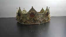 "Cosplay Gold King Crown with 8 Jewels & 24 CZ Diamonds 8"" diameter"