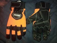 Hunter Orange Cut Resistant Kevlar Lined Chainsaw Gloves Vibration Reducing