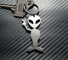 ALIEN PEACE Extraterrestrial Space Man Science Fiction Keyring Keychain Steel
