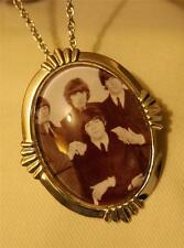 Lovely Flute Rim Shiny Silvertone Fab 4 Beatles Grouping Pendant Necklace Brooch